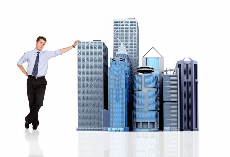 Business guy with commercial buildings